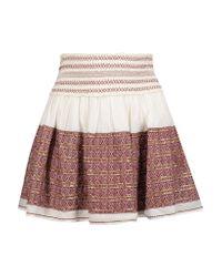 LoveShackFancy Multicolor Beach Embroidered Embellished Cotton-gauze Mini Skirt Brick