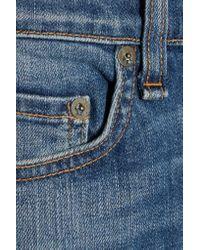Rag & Bone Blue 10 Inch Dre Mid-rise Cropped Faded Boyfriend Jeans