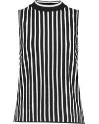 Rag & Bone Black Livvy Striped Silk And Cotton-blend Tank
