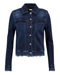 7 For All Mankind Blue Easy Trucker Frayed Denim Jacket