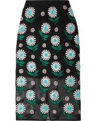 Markus Lupfer Black Roisin Embellished Silk-organza Pencil Skirt