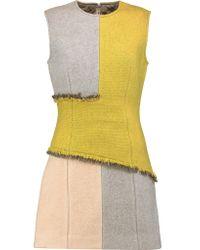 Acne Natural Ebele Frayed Paneled Wool-blend Mini Dress