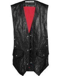 Acne Black Carletta Crinkled-leather Vest