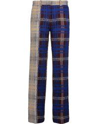 Acne Studios Blue Maya Checked Wool-blend Wide-leg Pants