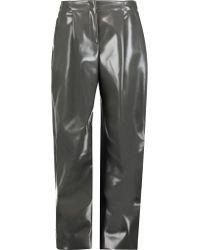 Acne Gray Selah Glossed-faux Leather Wide-leg Pants