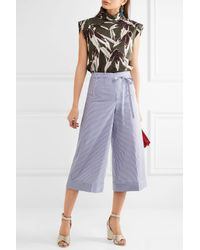 J.Crew | Blue Banada Striped Stretch-cotton Wide-leg Pants | Lyst