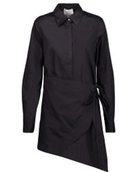 3.1 Phillip Lim Black Asymmetric Wrap-effect Cotton-broadcloth Shirt