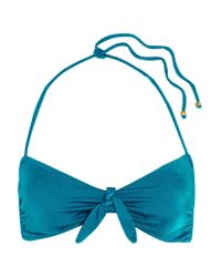 Eberjey | Blue Beach Glow Knotted Triangle Top | Lyst