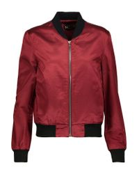 3x1 Red Wj Cotton-blend Satin Bomber Jacket