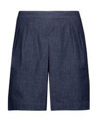 3x1 Blue Gaucho Cotton-chambray Shorts