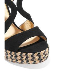 Paloma Barceló   Black Clarisse Cutout Nubuck Espadrille Wedge Sandals   Lyst