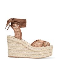 Paloma Barceló | Brown Woven Leather Wedge Espadrille Sandals | Lyst