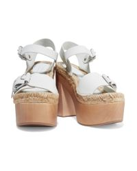 Paloma Barceló - White Lucia Buckled Leather Platform Sandals - Lyst