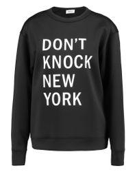 DKNY Black Printed Neoprene Sweatshirt