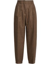 Agnona - Pleated Mélange Wool-blend Tapered Pants Brown - Lyst