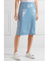 J.Crew - Blue Kingfisher Sequined Silk Crepe De Chine Skirt - Lyst