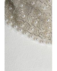 Ganni White Embellished Checked Stretch-knit Turtleneck Sweater