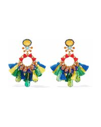 Elizabeth Cole - Multicolor Burnished Gold-plated, Acrylic, Crystal And Tassel Earrings - Lyst