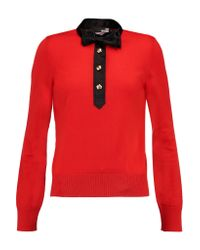 Love Moschino Red Satin-trimmed Wool Sweater