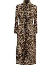 Roberto Cavalli Natural Leopard-print Silk-blend And Leather Coat