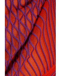 Roberto Cavalli Red Stretch-tulle Mini Dress