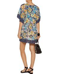 Joie - Blue Cycla Floral-printed Silk-georgette Mini Dress - Lyst