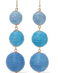 Kenneth Jay Lane | Blue Gold-tone Woven Earrings | Lyst