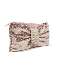 RED Valentino - Metallic Sequin-embellished Ruched Leather Clutch - Lyst