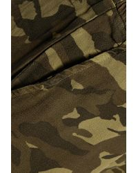 Monrow - Green Camouflage-print Crepe Track Pants - Lyst