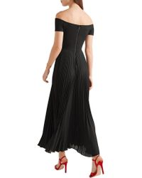 Alice + Olivia Black Ilana Off-the-shoulder Stretch-jersey And Chiffon Dress