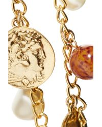 Kenneth Jay Lane | Metallic Gold-tone Bead And Faux Pearl Necklace | Lyst