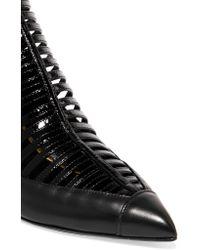Balmain Black Cutout Leather Pumps