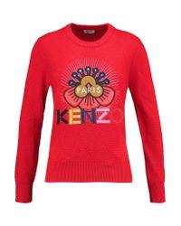KENZO Red Appliquéd Wool Sweater
