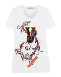 Versace - Black Appliquéd Printed Jersey T-shirt - Lyst