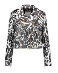 Moschino Black Printed Leather Jacket