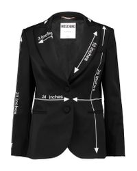 Moschino Black Embroidered Wool-blend Blazer