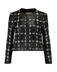 Moschino Black Appliquéd Leather Jacket
