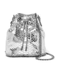 Stella McCartney Metallic Snake-effect Faux Leather Shoulder Bag