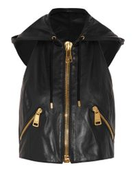 Moschino Black Hooded Leather Vest