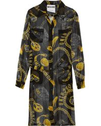 Moschino Black Printed Silk-chiffon Shirt Dress