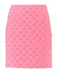 Moschino Pink Embellished Quilted Crepe Mini Skirt