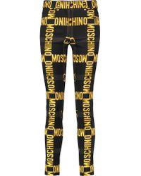 Moschino Black Printed Stretch-satin Skinny Pants