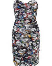 Moschino Multicolor Strapless Draped Printed Crepe Mini Dress