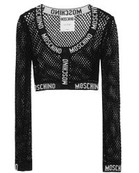Moschino Black Cropped Stretch-knit Trimmed Mesh Cardigan