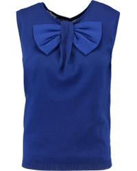 Moschino Blue Bow-embellished Cotton Sweater
