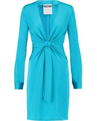 Moschino Blue Ruched Knotted-front Stretch-knit Dress