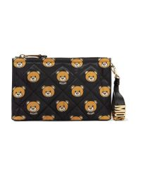 Moschino Black Leather-trimmed Quilted Printed Shell Clutch