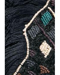 Antik Batik - Blue Fringed Beaded Cotton-bouclé Shoulder Bag - Lyst