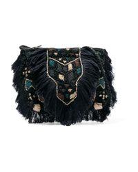 Antik Batik | Blue Fringed Beaded Cotton-bouclé Shoulder Bag | Lyst