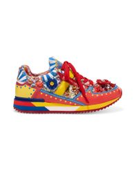 Dolce & Gabbana Red Embellished Printed Leather Sneakers